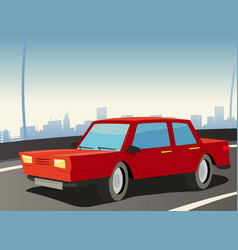 red car on city highway vector image vector image