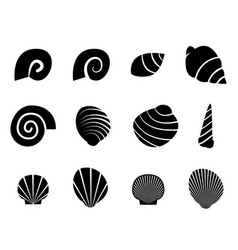set of shell in silhouette tattoo style vector image vector image