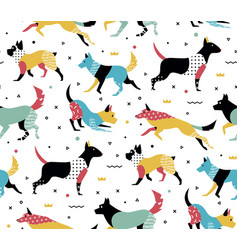 Simple modern pattern with dogs in memphis style vector