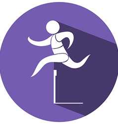Sport icon for hurdle running vector image