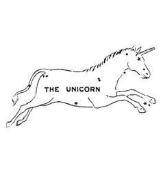 The unicorn vintage vector