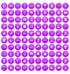 100 helmet icons set purple vector