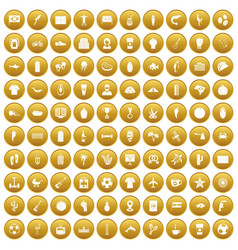100 south america icons set gold vector