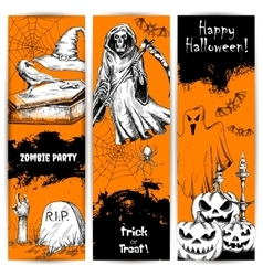Halloween party celebration posters and banners vector
