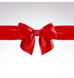 Red bow of satin ribbon vector