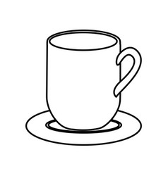 Silhouette dish porcelain with mug vector