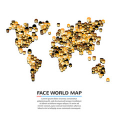 A set of smiling faces shaped as a map vector