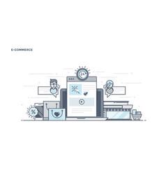 Flat line design header - e-commerce vector