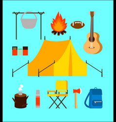 Flat camping elements collection vector