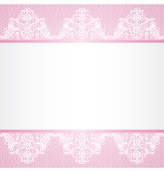 Lace floral lace border on pink background vector