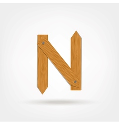 Wooden boards letter n vector