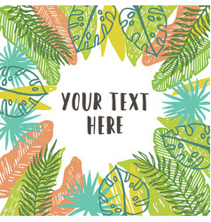 Beautiful tropical palms leaves decorative frame vector