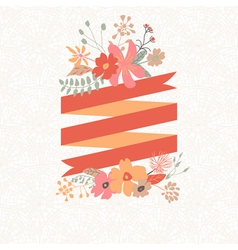 Floral bouquet with stripe for text vector
