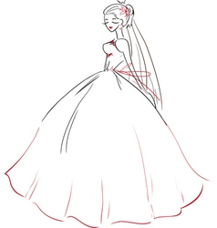 Symbolic bride in wedding dress vector
