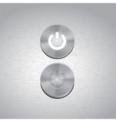 Set of metal power buttons with white light vector