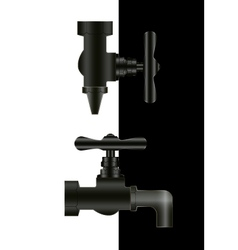 Two water taps on black and white background vector