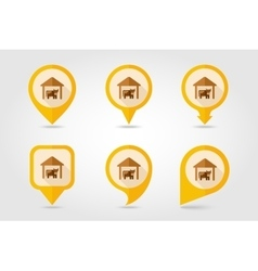 Cowshed flat mapping pin icon with long shadow vector
