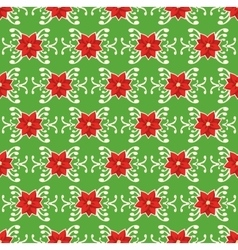 Seamless christmas pattern with poinsettia vector