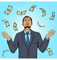 Businessman under the money rain pop art vector