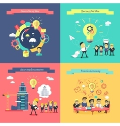 Generation of ideas banners set vector