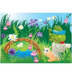 Frog riding snail vector