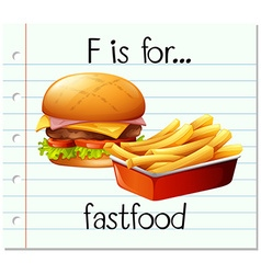 Flashcard letter f is for fastfood vector