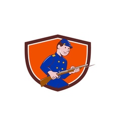 Union army soldier bayonet rifle crest cartoon vector