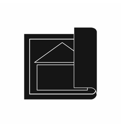 Building plan icon simple style vector