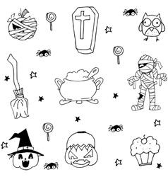 Mummy pumpkins ornament halloween in doodle vector