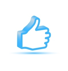 Blue like hand icon vector