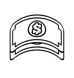 Bill money dollar cash icon line vector