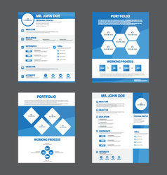 Blue creative resume business profile cv vitae vector