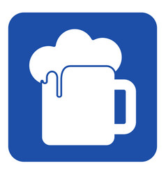 blue white information sign - beer with foam icon vector image vector image