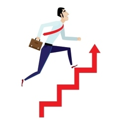 Businessman running up on arrow vector image vector image