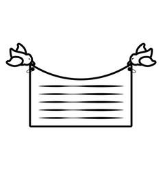Card bird flying invitation outline vector