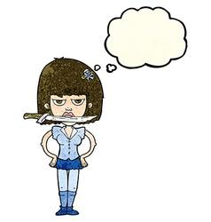 cartoon woman with knife between teeth with vector image vector image