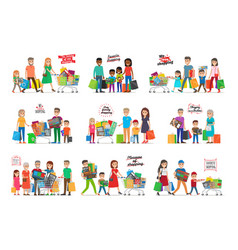 Collection of icons with happy family shopping vector