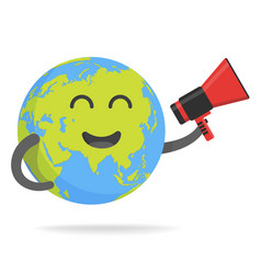Cute cartoon earth character world map globe with vector
