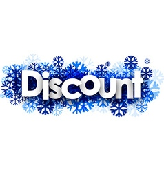 Discount banner with blue snowflakes vector