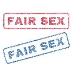 Fair sex textile stamps vector