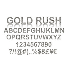 Gold rush silver alphabetic fonts vector