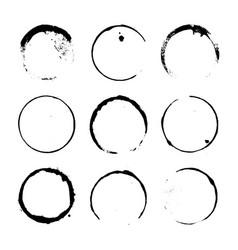grunge paint circle element set vector image