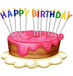 Happy birthday card template with pink cake vector