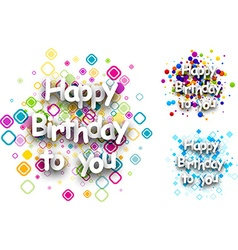 Happy birthday to you cards vector image vector image