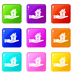 House in hand set 9 vector