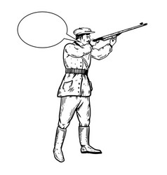 hunter with rifle engraving vector image