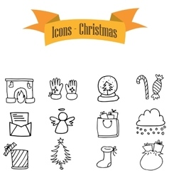 Icons of christmas element vector