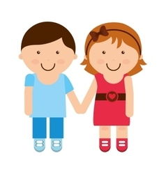 Little couple girl boy icon vector