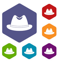 Man hat icons set hexagon vector