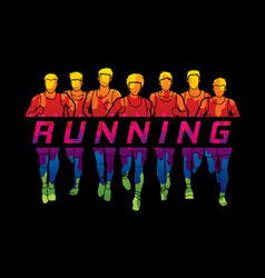 Marathon runners group of men running with text vector
